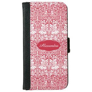 Coque Avec Portefeuille Pour iPhone 6 Le motif rouge Morris de lapin a personnalisé le