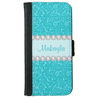 Coque Avec Portefeuille Pour iPhone 6 Le scintillement bleu d'Aqua miroite caisse de