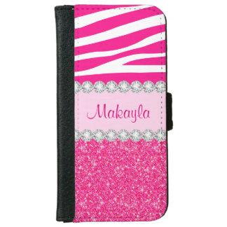 Coque Avec Portefeuille Pour iPhone 6 Le scintillement rose miroite caisse de