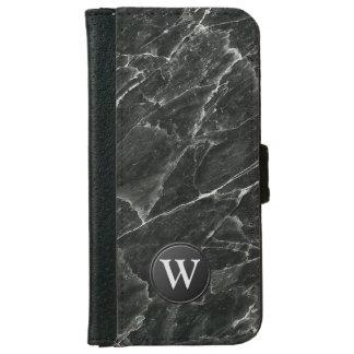 Coque Avec Portefeuille Pour iPhone 6 Monogramme de marbre noir