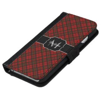 Coque Avec Portefeuille Pour iPhone 6 Monogramme rouge adorable de tartan de Noël