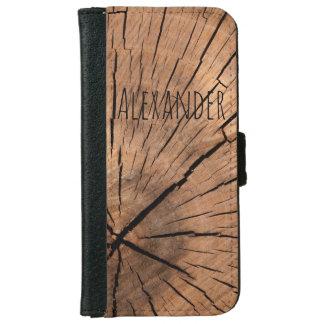 Coque Avec Portefeuille Pour iPhone 6 Nom de bloc en bois des hommes