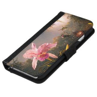 Coque Avec Portefeuille Pour iPhone 6 Orchidée et trois colibris brésiliens
