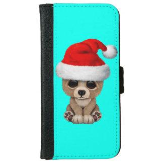 Coque Avec Portefeuille Pour iPhone 6 Ours de bébé utilisant un casquette de Père Noël
