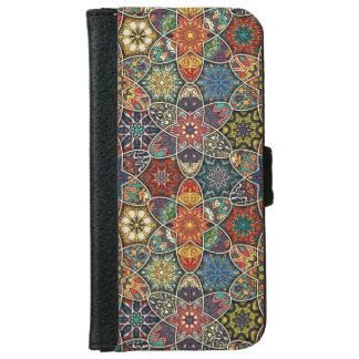 Coque Avec Portefeuille Pour iPhone 6 Patchwork vintage avec les éléments floraux de
