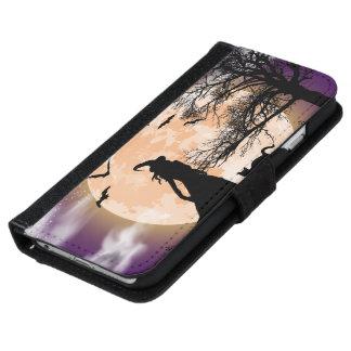 Coque Avec Portefeuille Pour iPhone 6 Pleine lune mystique de sorcière et de chat