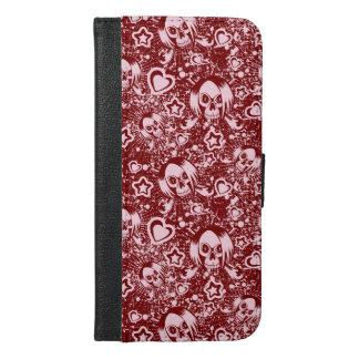 Coque Avec Portefeuille Pour iPhone 6 Plus arrière - plan de crâne d'emo