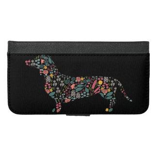 Coque Avec Portefeuille Pour iPhone 6 Plus Art floral d'aquarelle de motif de chien de