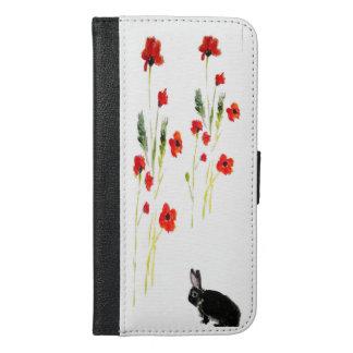 Coque Avec Portefeuille Pour iPhone 6 Plus Art floral de lapin et pavots rouges