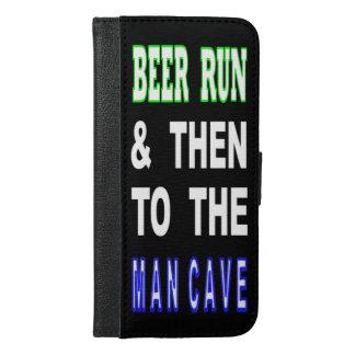 Coque Avec Portefeuille Pour iPhone 6 Plus Bière courue et puis à la caverne d'homme