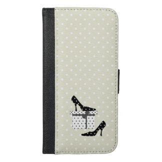Coque Avec Portefeuille Pour iPhone 6 Plus Chaussures de talon haut, pois, boîte-cadeau -