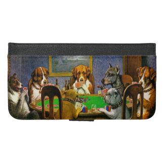 Coque Avec Portefeuille Pour iPhone 6 Plus Chiens jouant au poker