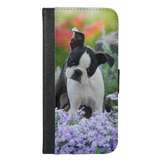 Coque Avec Portefeuille Pour iPhone 6 Plus Chiot de chien de Boston Terrier - protégez