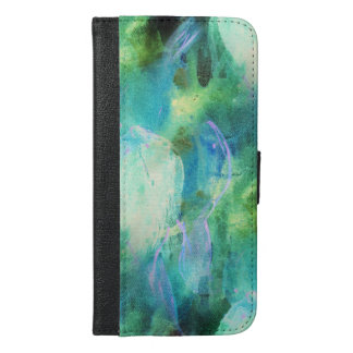 Coque Avec Portefeuille Pour iPhone 6 Plus Copie vert-bleu d'aquarelle de feuille de résumé
