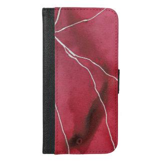 Coque Avec Portefeuille Pour iPhone 6 Plus Coupure de marbre pour aquarelle rouge foncé