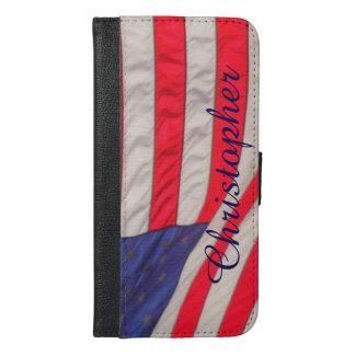 Coque Avec Portefeuille Pour iPhone 6 Plus Drapeau américain, coutume plus de caisse de