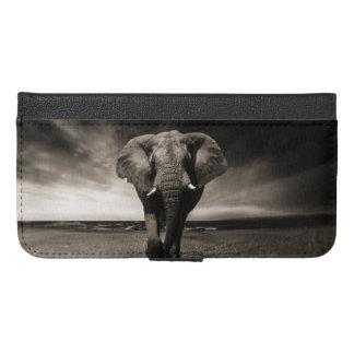 Coque Avec Portefeuille Pour iPhone 6 Plus Éléphant sur la course