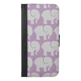 Coque Avec Portefeuille Pour iPhone 6 Plus Éléphants, silhouettes d'éléphant - gris pourpre