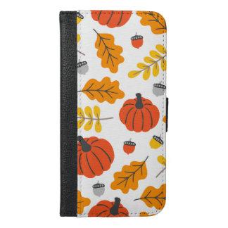 Coque Avec Portefeuille Pour iPhone 6 Plus Feuille et citrouilles d'automne