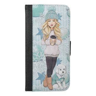 Coque Avec Portefeuille Pour iPhone 6 Plus Fille blonde avec le chiot blanc