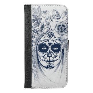 Coque Avec Portefeuille Pour iPhone 6 Plus Fille vintage de crâne de sucre avec les roses v16