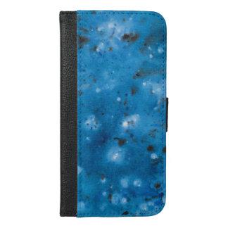Coque Avec Portefeuille Pour iPhone 6 Plus Floc de marbre bleu-foncé