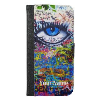 Coque Avec Portefeuille Pour iPhone 6 Plus Graffiti moderne bleu d'oeil mauvais