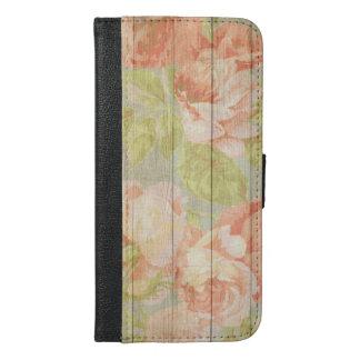 Coque Avec Portefeuille Pour iPhone 6 Plus Grain en bois floral chic minable
