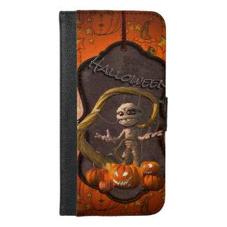 Coque Avec Portefeuille Pour iPhone 6 Plus Halloween, maman drôle avec le citrouille