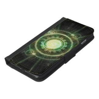 Coque Avec Portefeuille Pour iPhone 6 Plus Horloge verte de chaos, fractale Manda d'alchimie