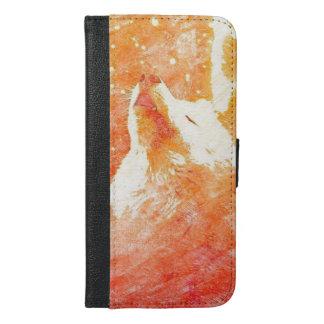 Coque Avec Portefeuille Pour iPhone 6 Plus iPhone orange 6/6s de loup plus la caisse de
