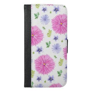 Coque Avec Portefeuille Pour iPhone 6 Plus L'aquarelle botanique fleurit le pourpre rose