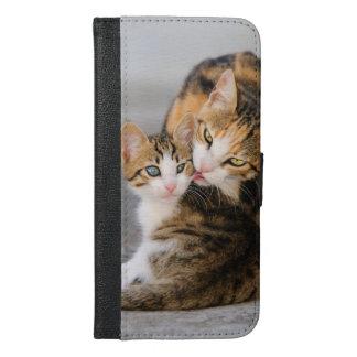 Coque Avec Portefeuille Pour iPhone 6 Plus Le chat de mère aime la photo mignonne de chaton -