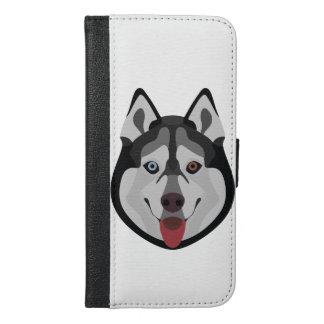 Coque Avec Portefeuille Pour iPhone 6 Plus L'illustration poursuit le chien de traîneau