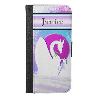 Coque Avec Portefeuille Pour iPhone 6 Plus Lune blanche I (brume colorée) de dragon avec la