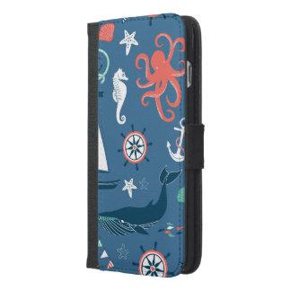 Coque Avec Portefeuille Pour iPhone 6 Plus Motif graphique nautique d'amusement