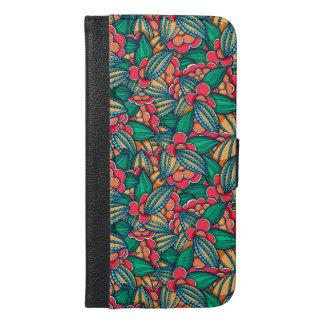 Coque Avec Portefeuille Pour iPhone 6 Plus Motif illustré abstrait coloré de graines de cacao