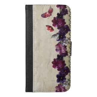 Coque Avec Portefeuille Pour iPhone 6 Plus Papillons floraux