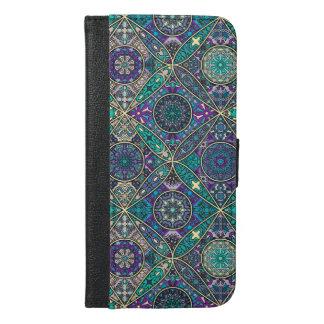 Coque Avec Portefeuille Pour iPhone 6 Plus Patchwork vintage avec les éléments floraux de