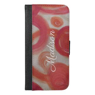 Coque Avec Portefeuille Pour iPhone 6 Plus Peinture abstraite de rose et d'orange