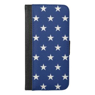 Coque Avec Portefeuille Pour iPhone 6 Plus Profil sous convention astérisque bleu et blanc