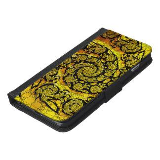Coque Avec Portefeuille Pour iPhone 6 Plus Spirale jaune d'or de fractale sur les ailes à