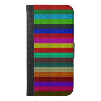 Coque Avec Portefeuille Pour iPhone 6 Plus Texture colorée de tuile de rayures