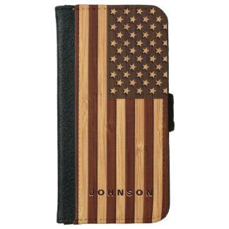 Coque Avec Portefeuille Pour iPhone 6 Regard en bambou et drapeau vintage gravé des