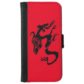 Coque Avec Portefeuille Pour iPhone 6 Symbole de dragon, rouge