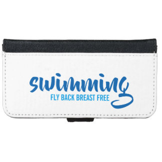 Coque Avec Portefeuille Pour iPhone 6 Texte typographique de natation de sein de mouche