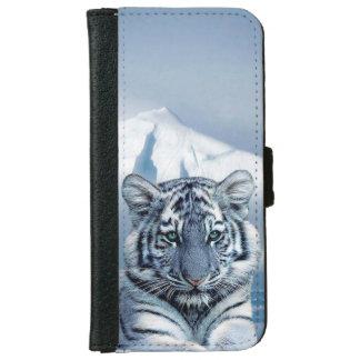 Coque Avec Portefeuille Pour iPhone 6 Tigre blanc bleu