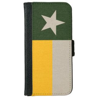 Coque Avec Portefeuille Pour iPhone 6 Vert et drapeau du Texas d'or