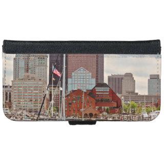 Coque Avec Portefeuille Pour iPhone 6 Ville - Boston mA - horizon de promenade de port
