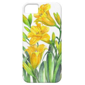 Coque Barely There iPhone 5 Art floral jaune d'hémérocalles d'aquarelle